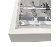 Luminaria fluorescente, lámpara fluorescente, luz, lámpara de techo 4 x 18 W EVG doble parabólica de cuadrícula y balasto de Philips