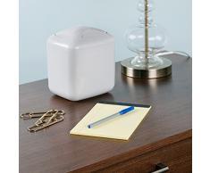 InterDesign Una Papelera con tapa basculante | Papelera pequeña para el escritorio o el lavabo | Ideal como papelera de baño o papelera de escritorio | Plástico gris