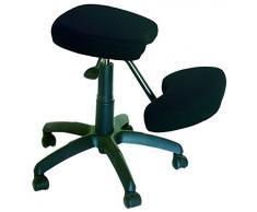 PIQUERAS Y CRESPO Modelo 37G - Silla de oficina ergonómica giratoria y regulable en altura - Asiento tapizado en tejido BALI color negro