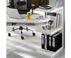 Diseño Escritorio/esquina mesa Taranto Duo, color blanco brillante, incluye Estantería