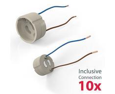 B.K.Licht - Set de 10 marcos de montaje para focos GU10 y GU10 LED empotrables, giratorios y ultraplanos para interiores, protección IP23, 8,6 cm de diámetro, color níquel mate
