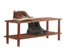 Premier Housewares - Zapatero con diseño de rejilla, 2 estantes, madera de cedro oscura, 74 x 26 x 30 cm