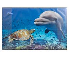 Idena 14017 - Vade de Escritorio de plástico con Dos Bolsillos, delfín, Aprox. 68 x 44 cm, Multicolor