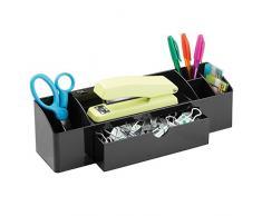 InterDesign Drawers Portalápices | Accesorio de Oficina con 5 Compartimentos y 1 cajón | Organizador de Escritorio para Material de Oficina y baño| Plástico Negro