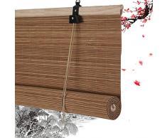 HAIPENG-Persianas estores de bambú Enrollable Ventanas Enrollar Ciego Persianas Ventana Porche Jardín Armario Fácil instalación Carbonizado Color (Color : A, Size : 90x220cm)