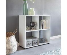 Wohnling Diseño Estante Zara con 4 Compartimentos Color Blanco 70 x 72 x 29 cm | Estantería Madera, pie | Carpeta Estantería biombos Dados de estantería Modern | Estantería de almacenaje Abierto