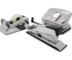M & M 65460461 - Juego de accesorios de oficina (grapadora, perforadora y dispensador de celo), color metálico