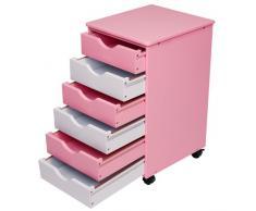 Infantastic Cómoda para niños con cajones   cajonera con ruedas   6 cajones de plástico, rosa-blanco