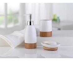 axentia Bonja Premium - Vaso portacepillos, de cerámica y bambú, también lapicero para oficina, dimensiones aprox. 7,5 x 7,5 x 9,5 cm, color blanco