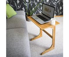 Relaxdays bambú bandeja mesa (62,5 x 60 x 40 cm) ordenador portátil escritorio portátil mesa de café de madera función atril