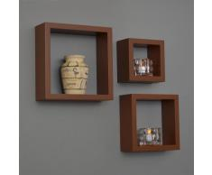 Estante de 3 sets en forma de cubo para Sala, Estantería para libros, CD, para fijar en la pared, en marrón mate