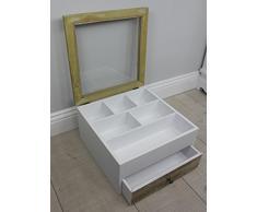Cajón con separador de cubiertos (tapa de cristal, cajón de madera), color blanco/marrón