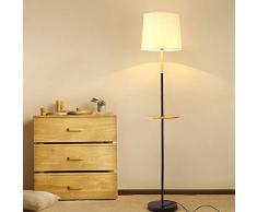 MYALQ Lámparas de pie con Repisa, Lampara pie Tripode Madera, 7W Blanca Cálida Interior Iluminación Interruptor de pie para Dormitorio Sala de Estar Oficina