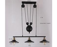 Lámparas industriales creativas, viento industrial de la vendimia Arte de la polea retractable de la barra de la barra de la elevación del escritorio de la barra de las lentes de cristal (excepto fuente de luz) (3HEAD)