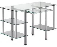 Escritorio tablero de vidrio templado y de acero