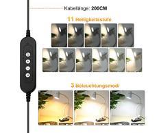 Lámpara de Lectura LED USB - Lámpara con Clip de Escritorio de Mesa de 5W, Iluminación Regulable con 3 Modos de Luminosidad, para la Oficina, Hogar, Lectura, Estudio, Trabajo (Blanco)