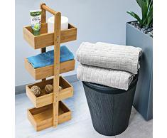 Relaxdays 10019021 - Estante, 4 canastas, bambú, 75 x 25 x 15 cm