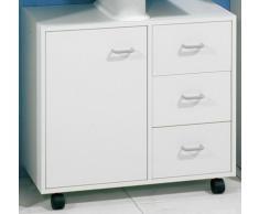 Fackelmann – Mueble bajo lavabo estándar con ruedas, madera, blanco, 65 x 59 cm