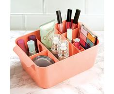InterDesign Clarity organizador maquillaje con asas   Caja almacenaje con 8 compartimentos para maquillaje y accesorios   Ideal para accesorios de baño   Plástico coral