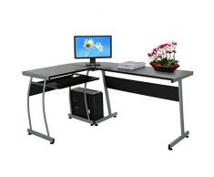 grapest esquina mesa en forma de L para ordenador PC Oficina Escritorio con Host Rack y teclado (148 x 112,5 x 74 cm