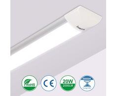 60cm Tubo Fluorescente LED, bapro 20W Luminaria de Taller 2000LM Lampara Cocina 6000K Blanco Frío Pantalla Led para Armarios, Cabinetes, Cocina y Oficina [Eficiencia Energética A++]