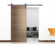 HD-ABD # Granero acero revestido del polvo puerta corredera Hardware pista de madera para trastero, lavandería, baño principal, Walk-in armario, oficina, persianas, alta movilidad áreas, Negro