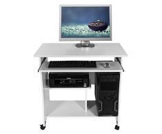 Harima - Mesa Esquinera para Ordenador Mueble Torre Escritorio Oficina Akashi Profesional en color Blanco con estante extraíble para el teclado Inicio PC de escritorio