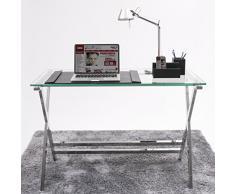 Mesa escritorio EQUIS tapa de cristal y patas de metal, de 110x55x76 cm.