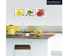 Eurographics DG-AU2129 - Cristal con póster decorativo, diseño de cubito de hielo y fresa, 20 x 20 cm