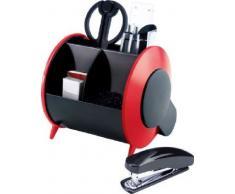Idena 353153 - Organizador con accesorios de oficina (10 piezas: tijeras, regla, cúter, grapadora, grapas, goma, clips, portaminas y bolígrafo), color rojo y negro