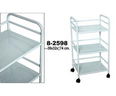 DRW - Carro - estantería de Metal de 3 baldas con Ruedas de PVC en Blanco 39x32x74cm