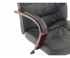 """De cuero silla de masaje de silla giratoria de oficina """"San Diego"""" con masajes de colour negro, de los pies de la Cruz y los apoyabrazos de madera de oficina sillón de más"""