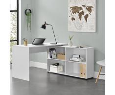 [en.casa]®] Mesa Escritorio - Escritorio de Ordenador - 130 x 60 x 75 cm - 4 compartimientos - Mesa de Oficina - Mesa de la Esquina - Blanco