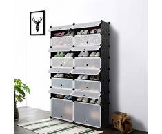 iKayaa Multiuso 32 Pares Cubo de Bricolaje Estante de Zapatos de Plástico 16 Grids Almacenamiento de Zapatos Organizador de Gabinete Librero Juguete Impermeable Armario de Tela con Puerta