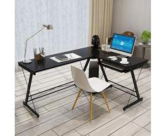 Escritorio de la computadora Simple moderna en forma de L Oficina de rincón de ordenadores de escritorio multipropósito Estación de Trabajo PC for el hogar Inicio Oficina Escritorio esquinero