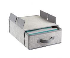 mDesign - Organizador colgante de tela, para almacenamiento en el armario; cajón para estante metálico - Gris