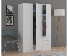 Habitdesign LCX323O - Armario ropero de Tres Puertas y Tres cajones, Color Blanco Mate, Medidas 121 cm (Largo) x 180 cm (Alto) x 52 cm (Fondo)