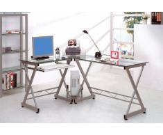 SixBros. Mesa de ordenador vidrio/gris plateado - CT-3802/45
