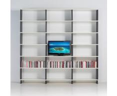 Estantería de Pared Modular NIKKA para salón mueble para TV estantes blanco cm. 270 x 258 h x 30