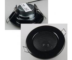 Altavoz empotrable para techo (aspecto de foco halógeno, tamaño mini, 8 cm de diámetro, 6 cm de diámetro para instalación), color negro