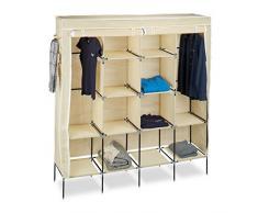 Relaxdays 10020500_127 armario plegable, Barra para ropa, 12 estantes, 46 x 187 x 181 cm, Beige
