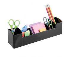 InterDesign Med+ Organizador de escritorio con 8 compartimentos   Sistema de organización con portalápices   Organizadores de oficina y baño   Plástico negro