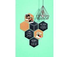 Securit - Hexagonal Juego de 7 pcs (4 x Pizarra + 3 x Corcho), Negro, 17,9 x 15,5 x 0,3 cm