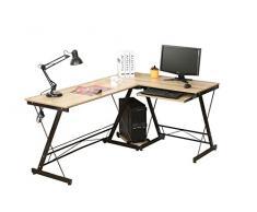 hj Escritorio Mesa L para Ordenador Oficina Estudio Esquina Madera Ajustable (Amarillo) 161 * 120 * 73cm