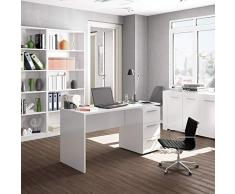 Habitdesign 004605A - Mesa de despacho 3 cajones, Mesa Escritorio Color Blanco Artik, Modelo Stylus, Medidas: 138 (Largo) x 60 cm (Ancho) x 74 (Alto)