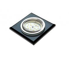 Trango Conjunto de 3 Proyectores LED empotrados de diseño TG6736S-03B Luminarias empotradas I Focos de techo I Focos de vidrio negro y aluminio con 3 fuentes de luz LED GU10 Focos empotrados
