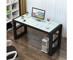 Mesa de ordenador Inicio escritorio de la computadora, escritorio de vidrio templado de escritorio de la computadora portátil escritorio, estructura de metal for el hogar oficina PC de escritorio esta