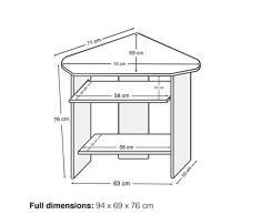 Lyndan - Spearfish nogal esquina mesa de ordenador escritorio para Hogar y Oficina Muebles estación de trabajo portátil estudio para Pc de escritorio y portátil con teclado deslizante estante y espacio abierto para torre, impresora y documentos