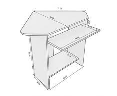 Harima - Mesa Esquinera para Ordenador Mueble Torre Escritorio Oficina Donghai Profesional en color Blanco con estante extraíble para el teclado Inicio PC de escritorio