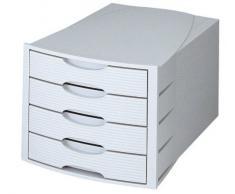 Han Monitor - Cajonera de oficina (tamaño C4, 4 cajones), color gris claro